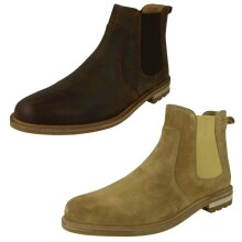 Mens Clarks Slip On Leather Ankle Boots Foxwell Top - G Fit