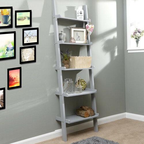 Grey Unit 5 Tier Ladder Display Stand Book Shelf