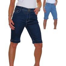 Womens Stretch Denim Knee Length Jeans Shorts Diamante Detail On Cuff 10-24