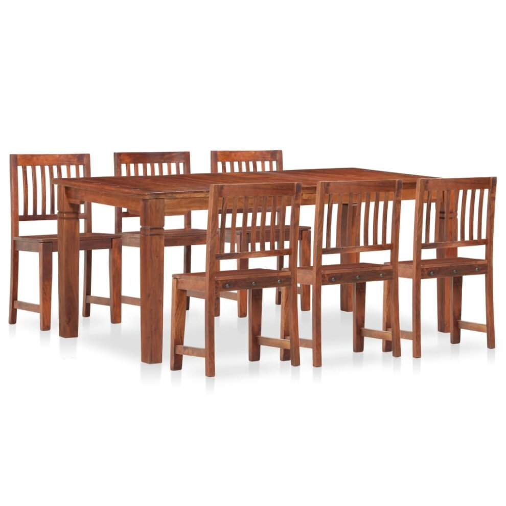 Vidaxl 7 Piece Solid Mango And Acacia Wood Dining Set Kitchen Table And Chair On Onbuy