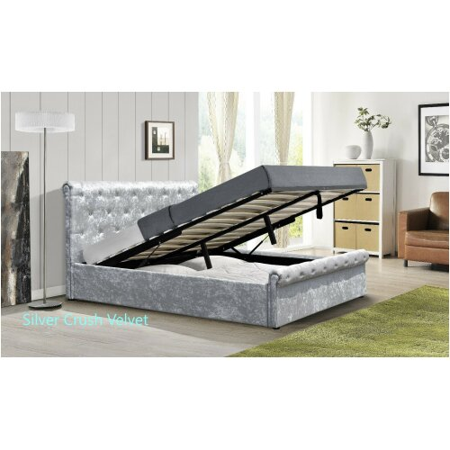 Marseille Crushed Velvet Diamante Ottoman Sleigh Bed with Tanya Mattress