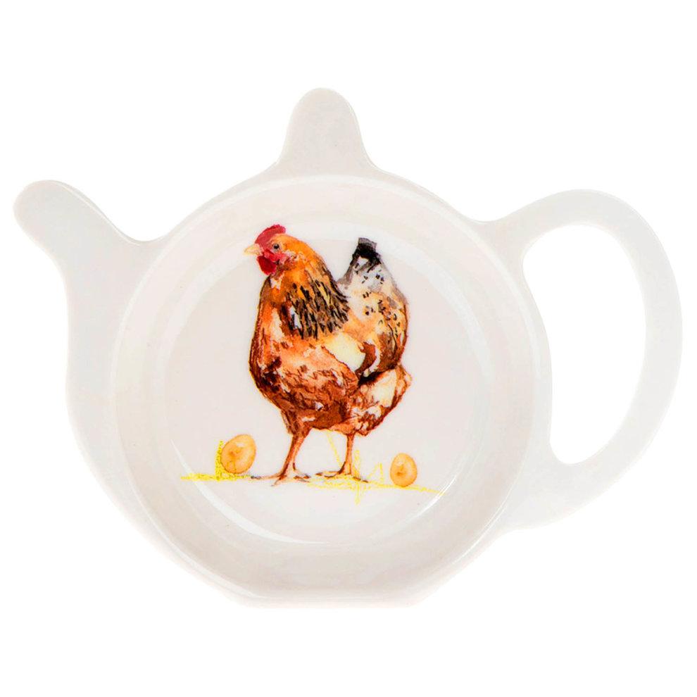 Farmyard Country Side Life Tea Bag Tidy Holder Teapot Shaped Melamine Coaster