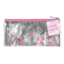 Pink & Silver Sparkly Glitter Pencil Cosmetic Case School Birthday Gift Xmas