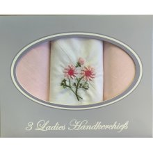 Ladies Women Plain Cotton Handkerchiefs Hankies 3 Pack Gift Box Embroidered