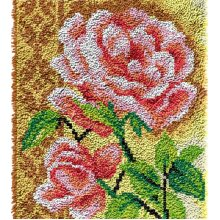 Pink Roses Rug Latch Hooking Kit (64x48cm blank canvas)