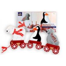 wooden train polar animals 9 pieces