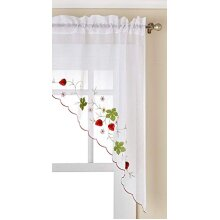 """LORRAINE HOME FASHIONS Strawberries Tailored Window Swag, 58"""" x 38"""", Red"""