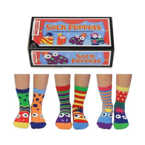 United Oddsocks Sock Puppets Box of 6 Boys Crazy Fun Mismatch UK 9-12