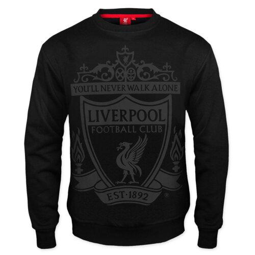 (Black, Small) Liverpool FC Official Football Gift Mens Crest Sweatshirt Top