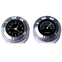 MASO 2pcs 7/8 Inch Motorcycle Handlebar Clock and Thermometer Universal Waterproof Motorcycle Handlebar Clock (Black)