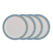 Denby 381048904 Elements 4 Piece Medium Plate Set, Blue