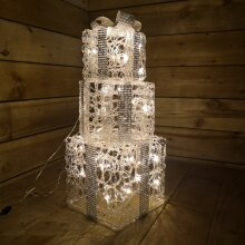 Set of 3 Festive Silver and White Battery Christmas Present Parcels Warm White LED