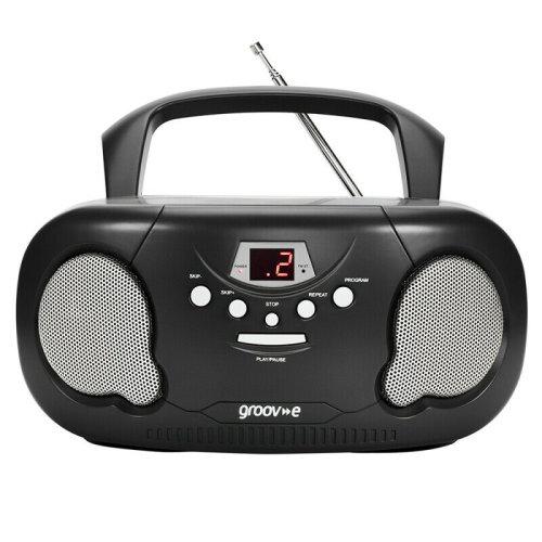 Groov-e Original Boombox Portable CD Player?AM/FM Radio?3.5mm Aux-In?PS733BK?Blk