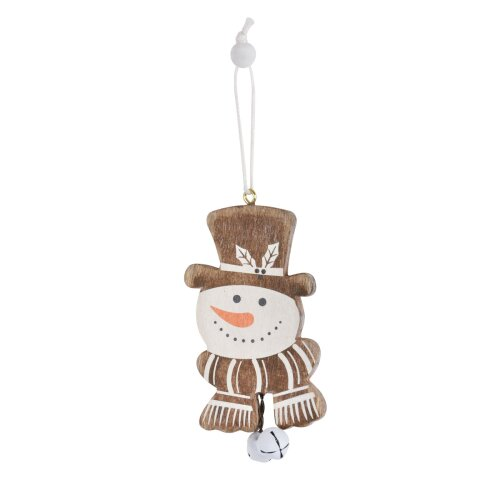 6pc Wooden Snowman Christmas Tree Decorations Jingle Bells Ornaments Xmas