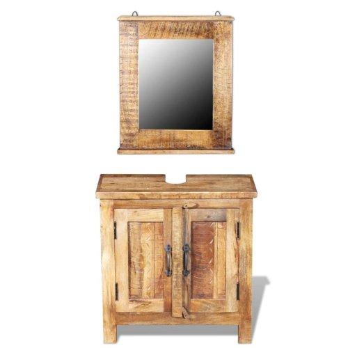 vidaXL Bathroom Vanity Cabinet Storage Cupboard with Mirror Solid Mango Wood