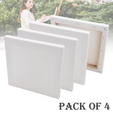 4X ARTIST BLANK STRETCHED CANVAS FOR PAINTING PACK SET OF 20 X 20CM