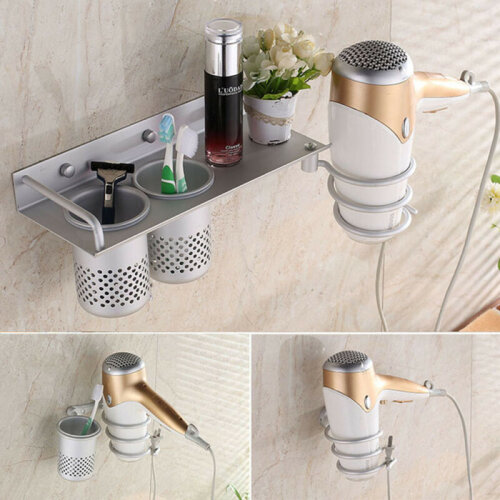 NEW Hair Dryer Storage Organizer Rack Comb Holder Wall Mounted Stand Bathroom