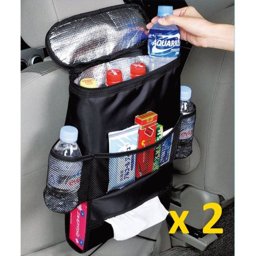 2pcs Car Seat Organiser With Insulated Cooler Bag