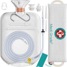 Medi Grade Enema Kit Deluxe: 14pc Premium Reusable Enema Bag