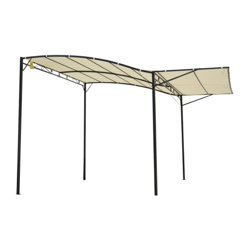 Outsunny Patio Metal Gazebo Door Window Awning Wall Mount Outdoor Shelter