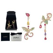 Craftuneed luxury retro zircon stone phoenix drop earrings silver pin