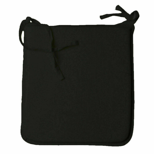 (Pack of 2, Black) Square Seat Pad REMOVABLE COVER Tie On 37cm x 42cm