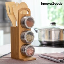 Set of Magnetic Spice Racks with Bamboo Utensils Bamsa InnovaGoods 7 Pieces