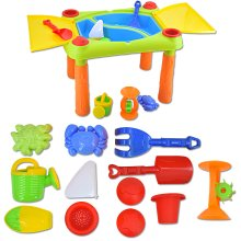 deAO Sand and Water Play Table for Kids Double Compartment and Lids