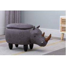 Hallowood Animal Rhino Foot Stool for Kids with Lid, Toy Storage Chest/Ottoman/Seat, Wood, Foam, Linen, ANI-RHI1