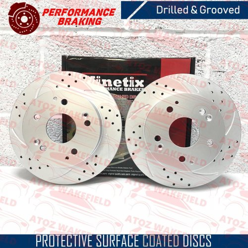 For Honda civic 2.0 type R ep3 rear dimpled grooved kinetix brake discs TX007