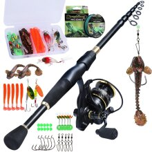 Soothsaying Fishing Rod And Reel Combo Set With Telescopic Spinning Rod