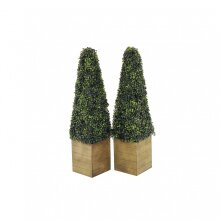 Oypla Set of 2 Artificial Topiary Boxwood Pyramid Trees 90cm Indoor Outdoor Decoration