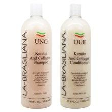 LA-BRASILIANA UNO Keratin After Treatment Shampoo + DUE Conditioner Combo Set, 1 Liter each