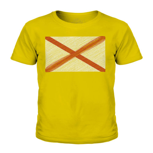 (Gold, 3-4 Years) Candymix - Alabama State Scribble Flag - Unisex Kid's T-Shirt