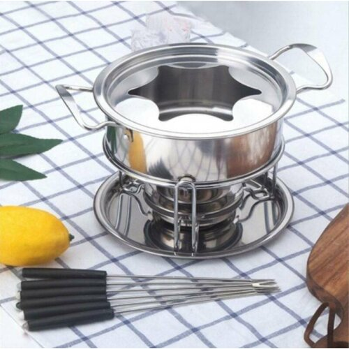 Stainless Steel  Fondue Set Melting Pot with 6 Forks