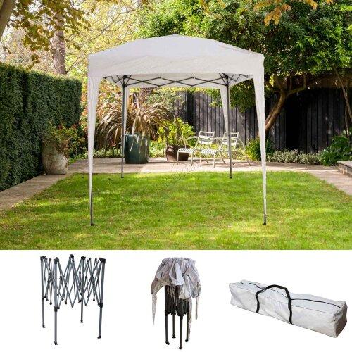 (White) BIRCHTREE Gazebo Pop Up Waterproof Marquee Canopy Garden Wedding Party Tent 2x2M