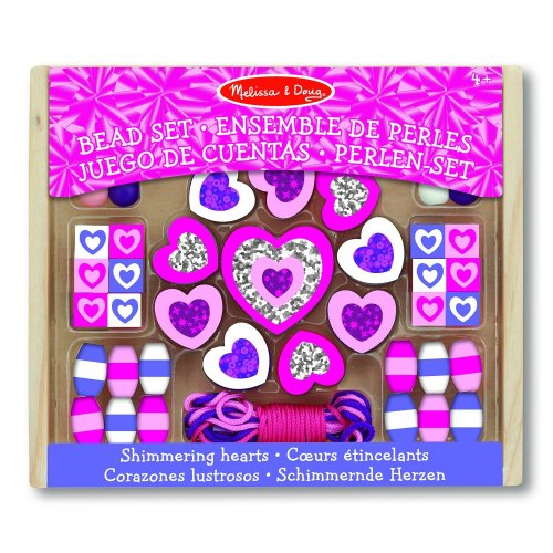 Melissa & Doug Shimmering Hearts Wooden Bead Set: 45 Beads and 3 Laces