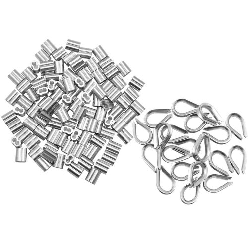 1//16-inch Wire Rope Aluminum Sleeves Clip Fittings Cable Crimps 100pcs Meka-supplies