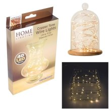 Home Lighting 'Warm White' Copper Tone Wire Lights - 40 LED Bulbs