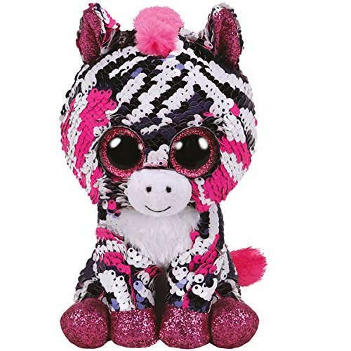 TY Flippable Sequins Zoey Zebra Beanie