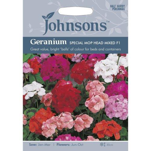 Johnsons Seeds - Pictorial Pack - Flower - Geranium Special Mop Head Mixed F1 - 10 Seeds