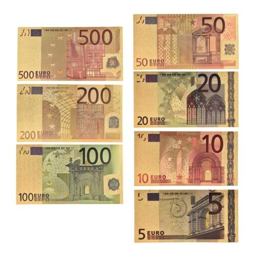 (As Seen on Image) 7pcs/lot 5 10 20 50 100 200 500 EUR Gold Banknotes in 24K Gold Fake Paper Money for Collection Euro Banknote Sets
