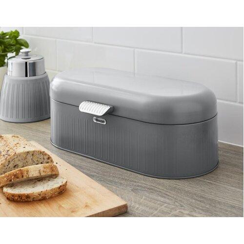 Swan Retro Bread Bin Kitchen Storage Easy Open Lid w/Chrome Plate Handle Easy Clean Generous Capacity - Grey