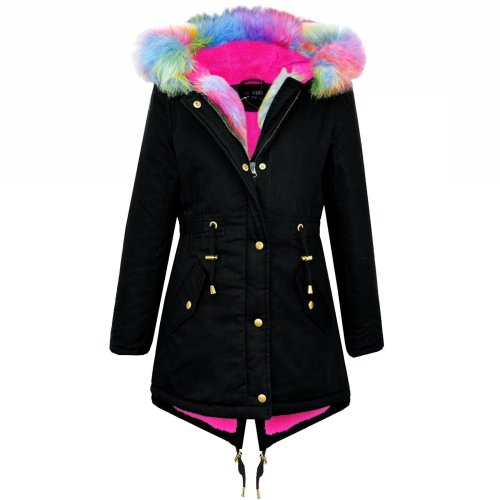 Kids Hooded Jacket Girls Rainbow Fur Black Parka School Jackets Outwear Coat7-13