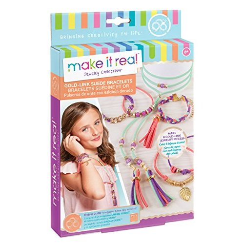 Make It Real Gold Link Suede Bracelets DIY Suede Bracelet & Choker Making Kit for Girls Arts and Crafts Kit to Design and Create Unique Tween Jewelry