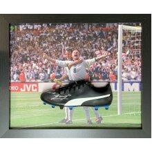 Framed Paul Gascoigne Euro 96 signed football boot with COA & proof