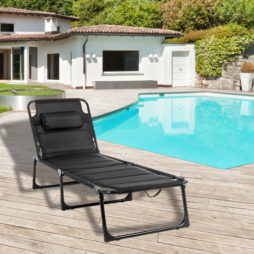 Foldable Sunloungers Black Outdoor Garden Camping Recliner Day Bed