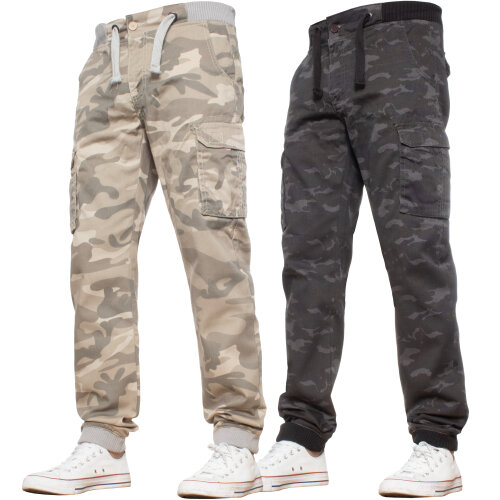 Enzo Mens Cargo Combat Trousers Camo Jogger Work Jeans