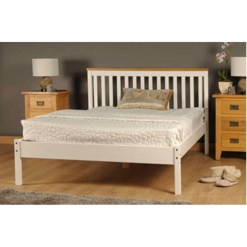 (4ft6 Double, White) Riga Wooden Bed Frame