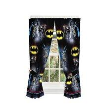 "Franco Kids Room Window Curtain Panels with Tie Backs 82"" x 63"" Batman"